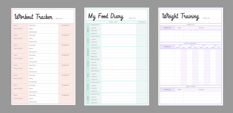 3 set of workout Tracker, Food Diary, Weight Training planner template. Fitness Timetables and Diet Dood Plans organizer page. Paper sheet. Realistic vector illustration.