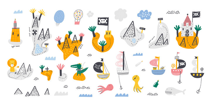 Cute set of islands, pirate ships and sea creatures. Hand drawn vector doodle set for kids. Design for poster, card, bag and t-shirt.