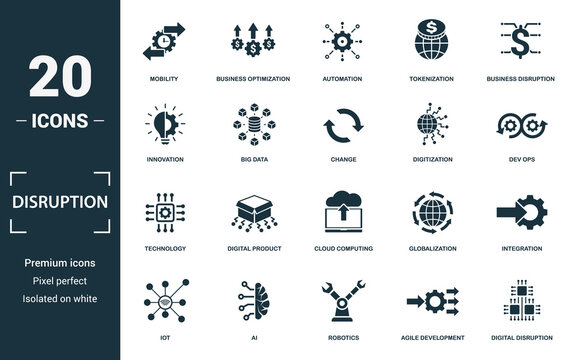 Disruption icon set. Monochrome sign collection with innovation, big data, change, digitization and over icons. Disruption elements set.