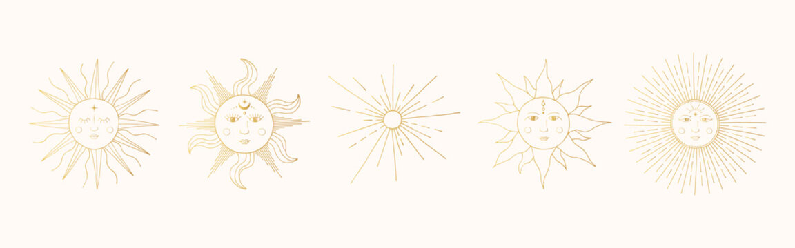Set of golden mystic and celestial suns with faces. Vector space illustration in boho style. Gold sunbursts.