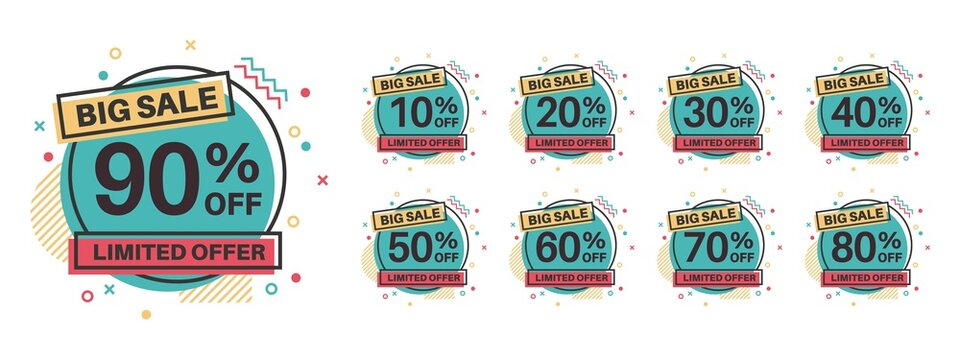Sale tags. Discount badges 10, 20, 30, 40, 50, 60, 70, 80, 90 percent off. Retail price sale labels, special offer circle stickers, marketing promotion emblems vector flat template