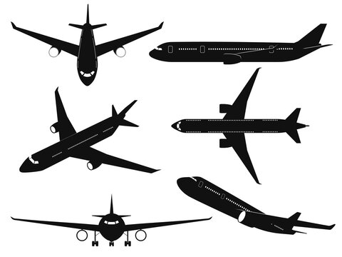 Airplane silhouettes. Passenger aircraft in different angles, flying plane top, side and front view. International transportation travel commercial aviation black planes vector set