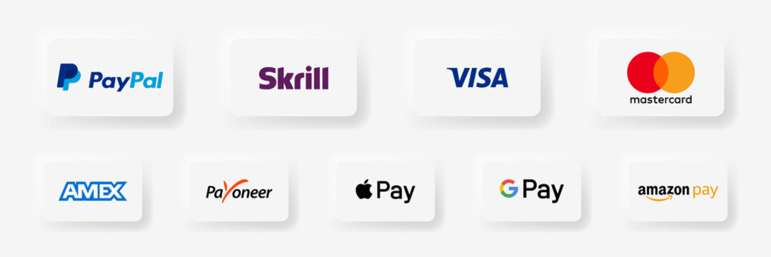 Google pay, app pay, payoneer, mastercard, visa, apple, paypal, - popular realistic payment logotype. Payment icon set. Editorial vector illustration. Vinnitsa, Ukraine - September 21, 2020