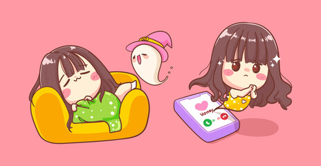 Alone girl sleeping on sofa background and waiting phone call with cute character design.