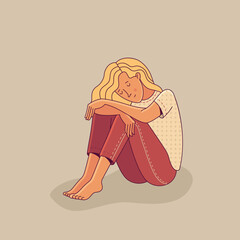 Sad young woman sitting alone as illustration of mental disorder, psychotherapy concept, loneliness, and depression. Flat cartoon vector character.