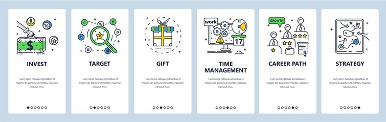 Door stickers Wall Decor With Your Own Photos SEO marketing strategy planning. Career path, target gift investment. Mobile app screens, vector website banner template