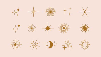 Wall Murals Height scale Vector set of linear icons and symbols - stars, moon, sun - abstract design elements for decoration or logo design templates in modern minimalist style