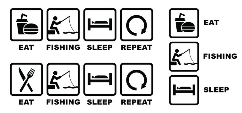 Fishing rod icons Quote Eat play sleep repeat sign Funny vector fisherman sport symbol icon Happy weekend water sports or river bank signs Set fish sports Outdoor summer recreation Fishnet fishery