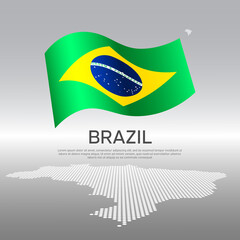 Brazil wavy flag and mosaic map on light background. Creative background for the national Brazilian poster. Vector tricolor design. Business booklet. State brazilian patriotic banner, flyer