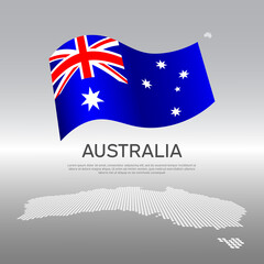 Australia wavy flag and mosaic map on light background. Creative background for the national Australian poster. Vector tricolor design. Business booklet. State australian patriotic banner, flyer