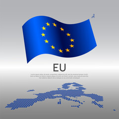 EU wavy flag and mosaic map on light background. Creative background for the national European Union poster. Vector tricolor design. Business booklet. EU state patriotic banner, flyer