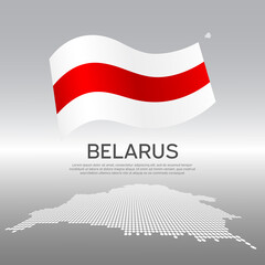Belarus wavy flag and mosaic map on light background. Creative background for the national poster of Belarus. Vector design. Business booklet. State Belarusian patriotic banner, flyer