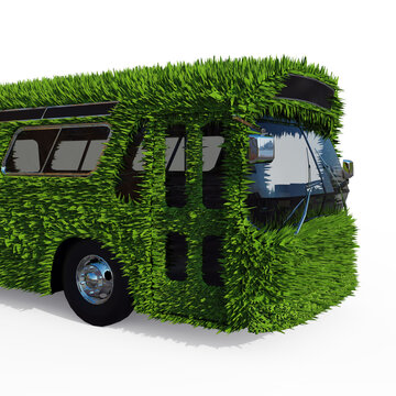 The Front of the Bus is Overgrown with Green Grass Close-Up. Eco-Friendly Urban Transport Concept. 3D Render Isolated on a White Background.