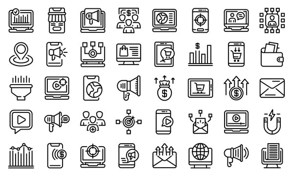 Online marketing icons set. Outline set of online marketing vector icons for web design isolated on white background