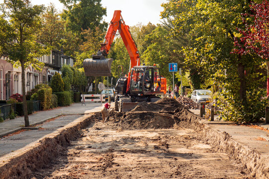Sewerage works in a residential area: preparatory removal of pavement