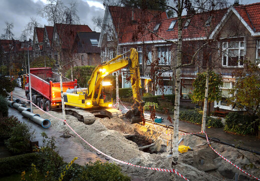 Early morning sewerage works in a residential area