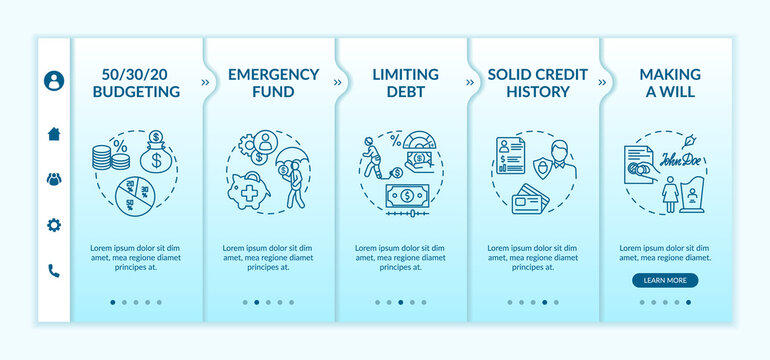 Best savings strategies onboarding vector template. Investing in future. Money increasing plan. Responsive mobile website with icons. Webpage walkthrough step screens. RGB color concept
