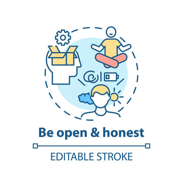 Be open and honest concept icon. Self-worth sense idea thin line illustration. Mutual understanding. Communication in relationship. Vector isolated outline RGB color drawing. Editable stroke