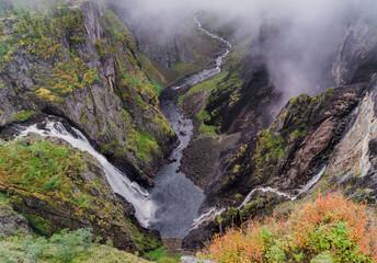 Jeden z najpopularniejszych norweskich wodospadów zwany Vøringfossen (Voringfossen)
