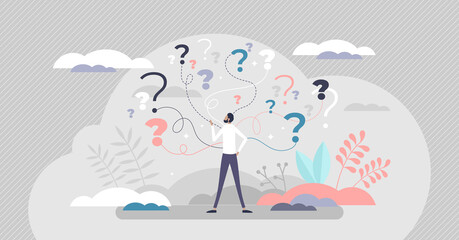 Fototapeta Business decision making doubt about options confusion tiny person concept obraz