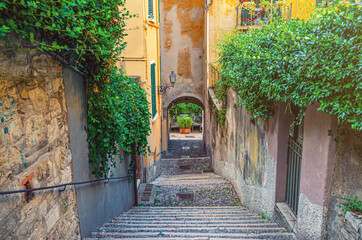Cobblestone staircase with stairs, green trees, bushes and flowers, street lights between stone walls in Brescia city historical centre, Lombardy, Northern Italy