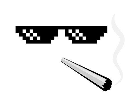 Pixel glasses and sigarette - popular thug life meme