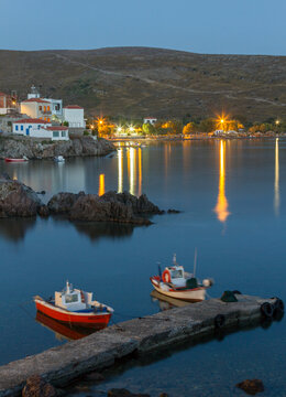 Blue hour in the picturesque fishing village of Sigri, Lesvos island, Greece.