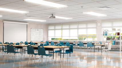 Fototapeta High school classroom interior. 3d illustration obraz