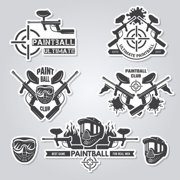 Paintball labels. Sport badges active games with gun and paint shooter team labels vector logos collection. Paintball logotype and shooting extreme illustration