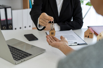Sales agents are sending home keys to customers after discussing contracts to buy a home, insurance or real estate loan.