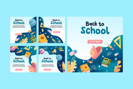 Back to school social media post template promotion