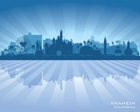 Anaheim California city skyline vector silhouette