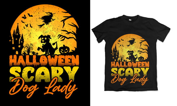 Halloween Scary Dog lady Illustration for T-shirt Design