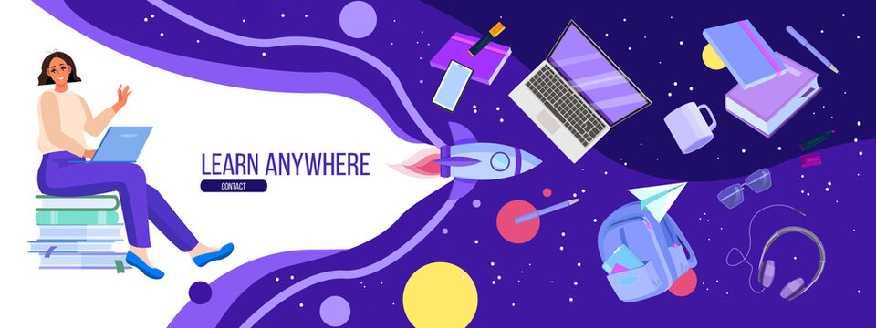 Online university and school education banner with student using laptop, space, rocket, book. Virtual lessons and webinar in internet concept with young woman. Online education vector illustration