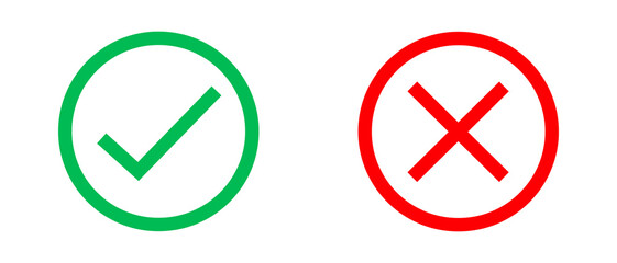 Tick and Cross icons. Vector