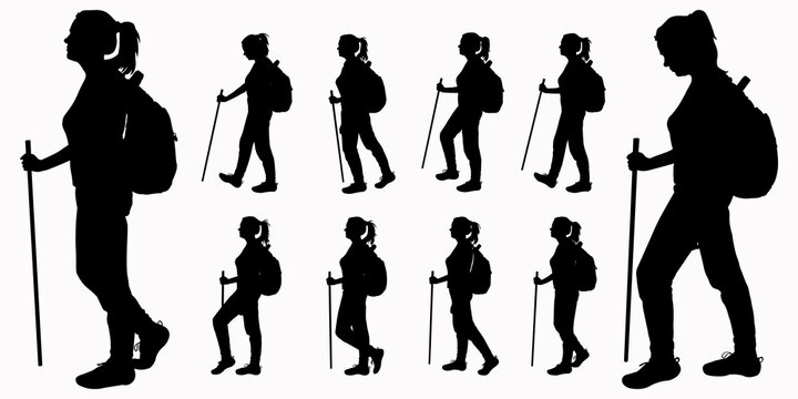 A tourist with a backpack on her back and a walking stick in her hand. The girl walks. Woman on the move. Hiking. Side view, profile. Black female silhouettes isolated on white background.