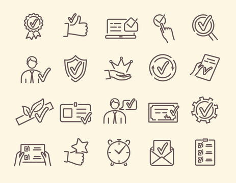 Approval, endorsement, acceptance, approvement concept. Vector set of linear icons related to accreditation, quality check and affirmation. Pictograms and infographics design elements