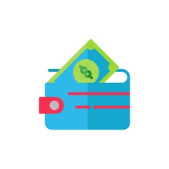 wallet flat Icon. bank and financial vector illustration on white background
