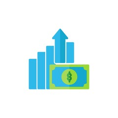 growth flat Icon. bank and financial vector illustration on white background