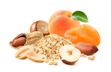 Fresh and dry apricots, peanuts, hazelnuts and oat flakes isolated on white background. Healthy breakfast mix