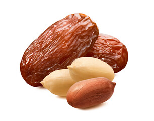 Dates and peanut nuts isolated on white background.