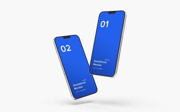 iPhone Mockup | PSD File Included, Place your Design Via Smart Object, Separated Shadow and Background