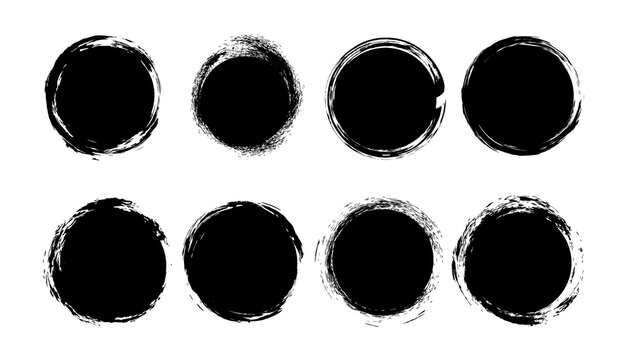 Grunge story highlight cover icons for social media. Abstract grunge banner set. Round black grunge circles shapes.
