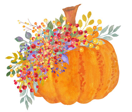 Fall pumpkin watercolor painting with floral leaves and berries in cute autumn or halloween design, cute rustic thanksgiving illustration