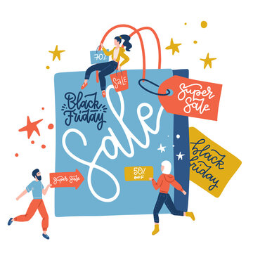 Black Friday sale inscription design template vector flat illustration. Big blue paper bag and small people with purchases, sale signboards. First day of traditional christmas shopping