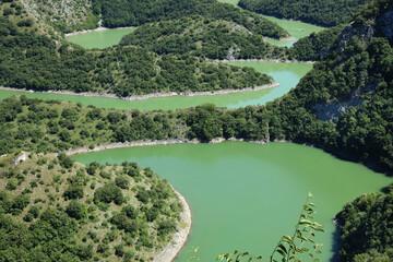 Uvac River Canyon, Serbia. Scenic nature landscape