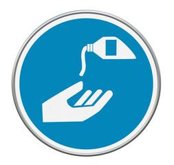 """Gebotszeichen """"Handschutzmittel benutzen"""" nach DIN EN ISO 7010. 3d rendering"""