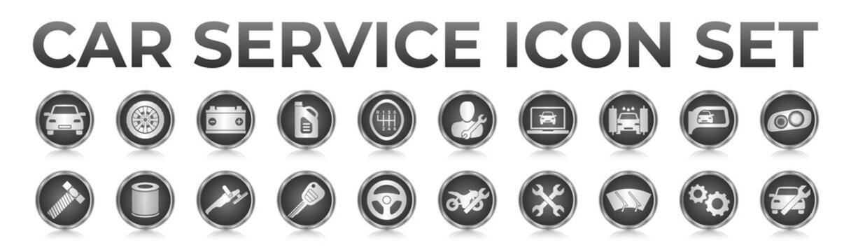 3D Black Car Service Round Web Icons Set with Battery, Oil, Gear Shifter, Filter, Polishing, Key, Steering Wheel, Diagnostic, Wash, Mirror, Headlamp Icons