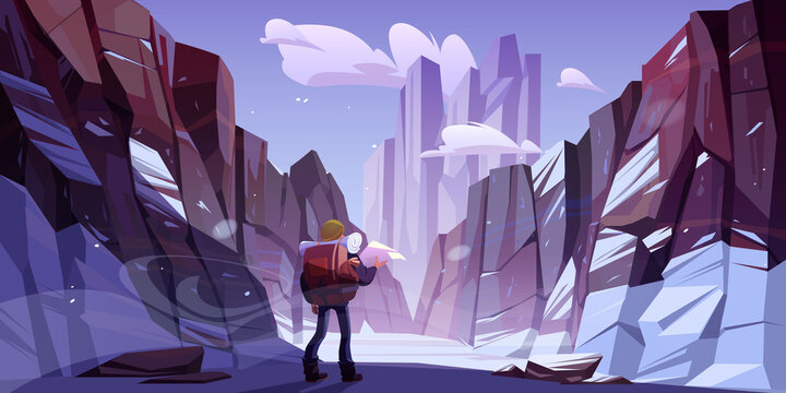 Traveler man at winter mountains, travel journey, adventure. Tourist with backpack and map stand at rocky snowy landscape looking at high peak. Extreme hiking lifestyle, Cartoon vector illustration