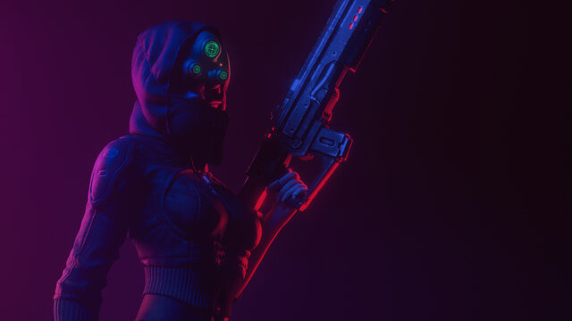 Young beautiful futuristic woman in hooded leather jacket wears night vision helmet holds assault rifle in one hand on dark scene. 3d illustration of a dangerous cyberpunk girl in tight black clothes.